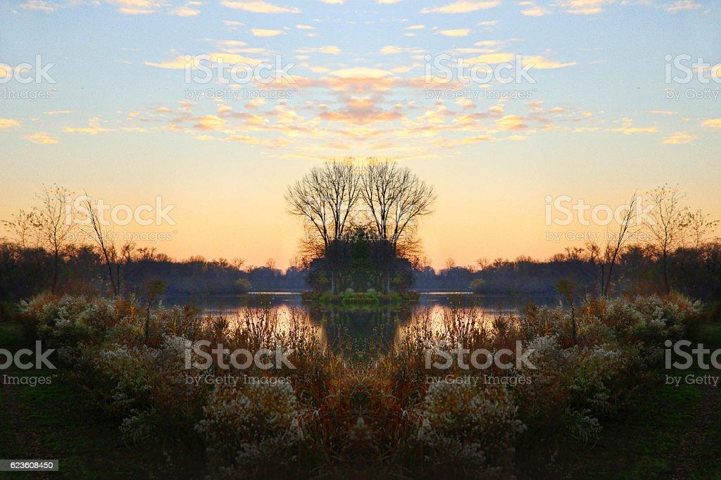 Late Autumn Sunset on a Minnesota Lake. stock photo