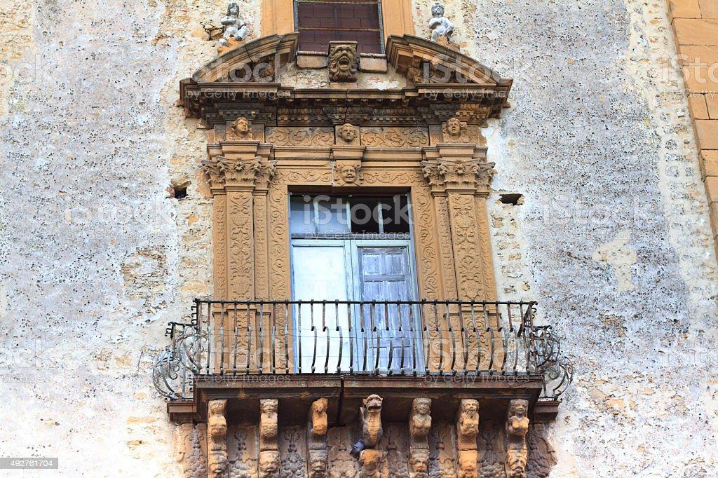 Late Baroque Balcony, St Francis Church, Piazza Armerina, Sicily stock photo