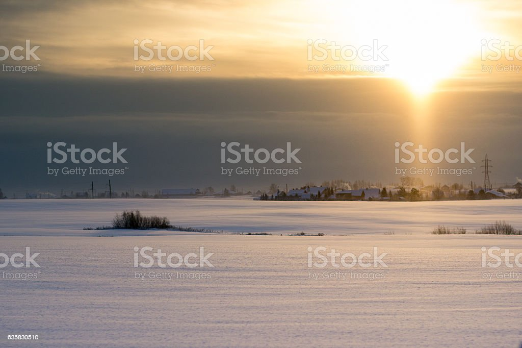 Late dawn in northern Russia on a winter day stock photo