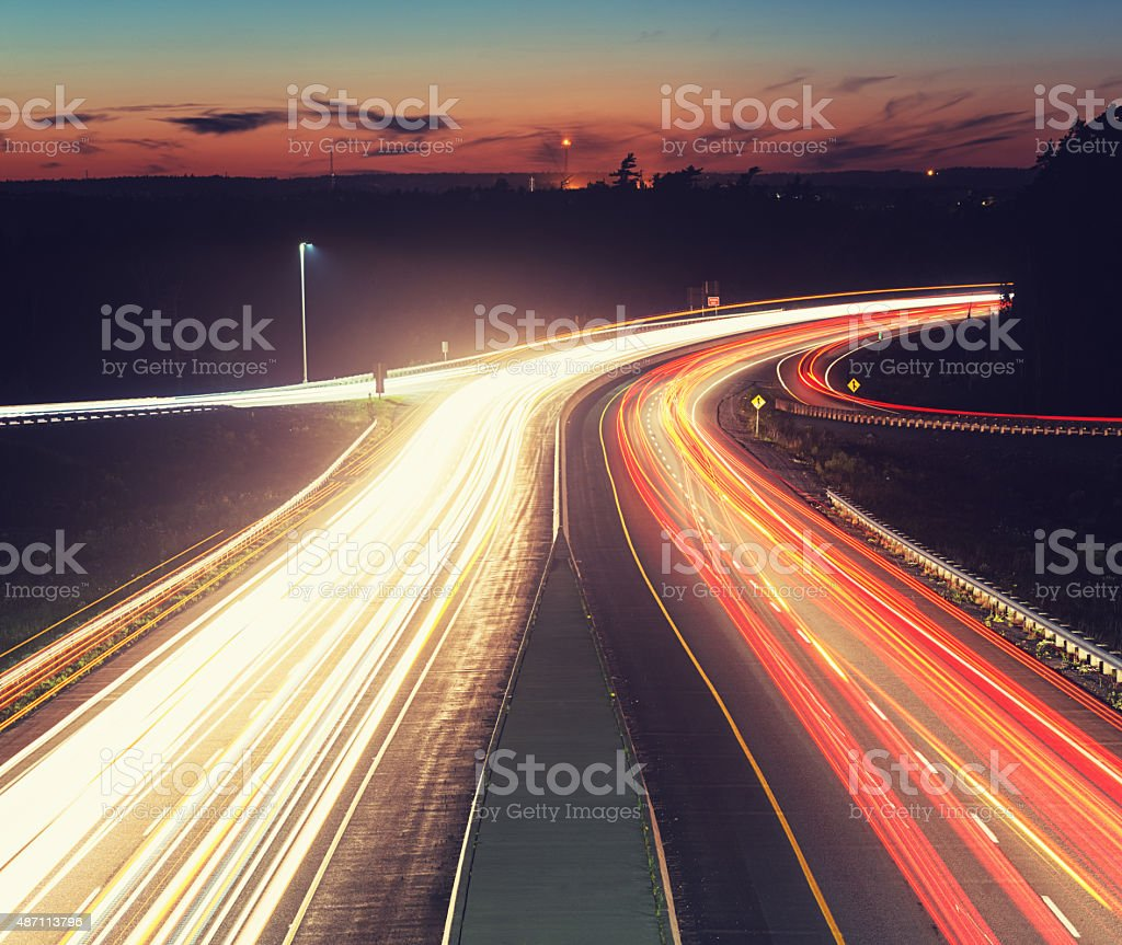 Late Evening Highway Traffic stock photo