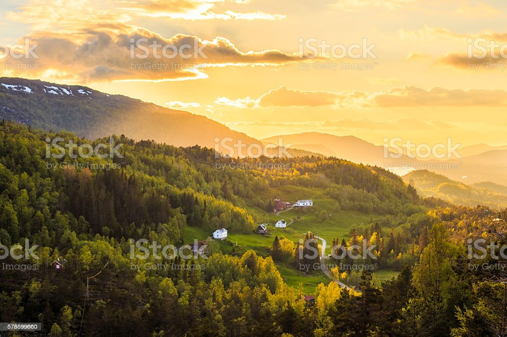 Late evening landscape in Norway, Osteroy stock photo