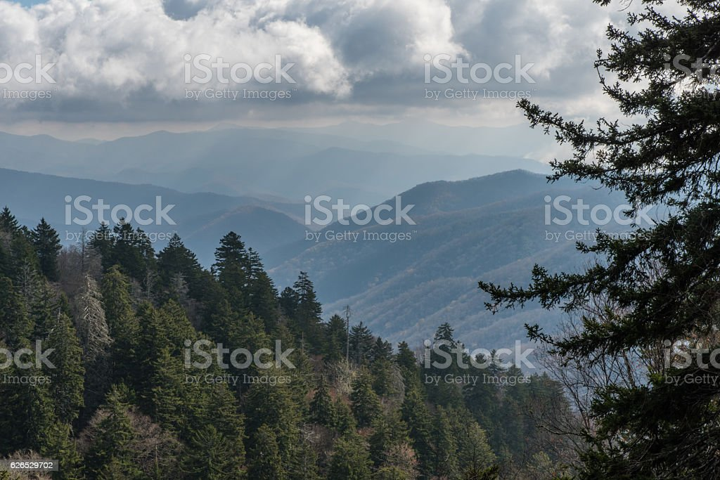 Late fall at the Great Smoky Mountains National Park stock photo