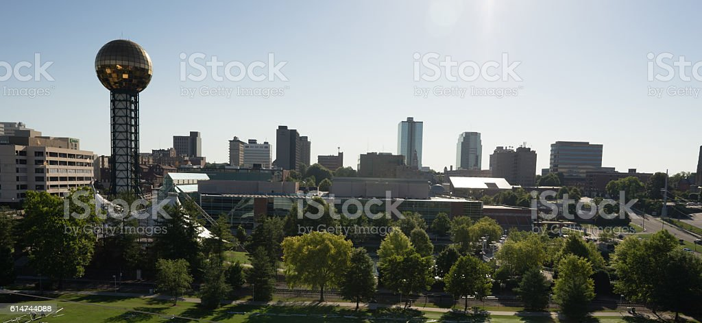 Late Morning Buildings Downtown City Skyline Knoxville Tennessee stock photo
