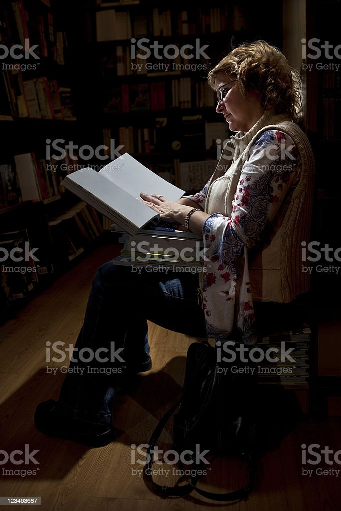Late night at the library stock photo