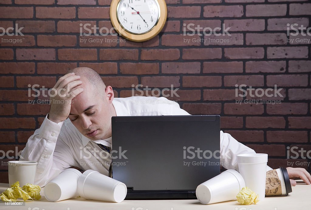 Late Night at the Office stock photo