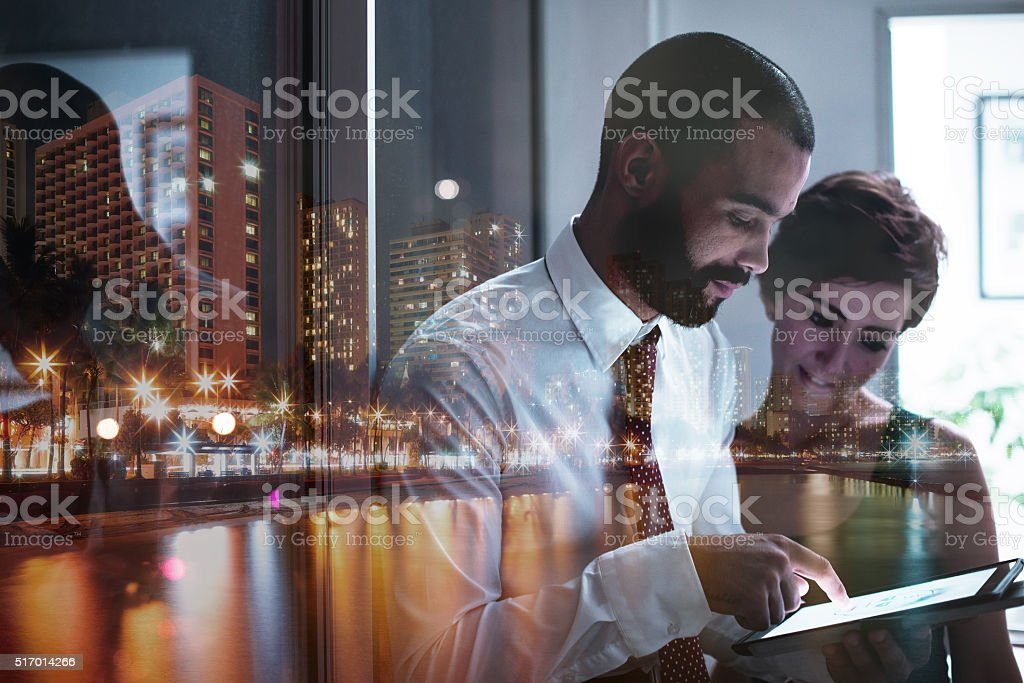 Late night brainstorming sessions stock photo