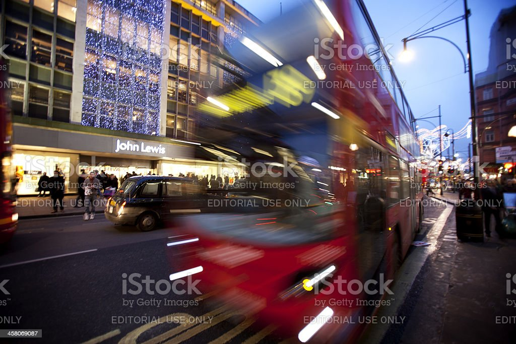 Late night Christmas shopping on Oxford Street, London. royalty-free stock photo