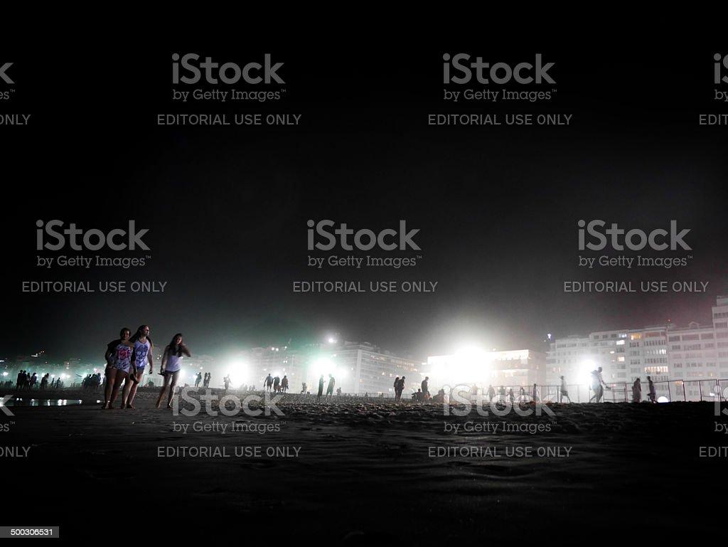 Late night Copacabana Beach, Rio de Janeiro. stock photo