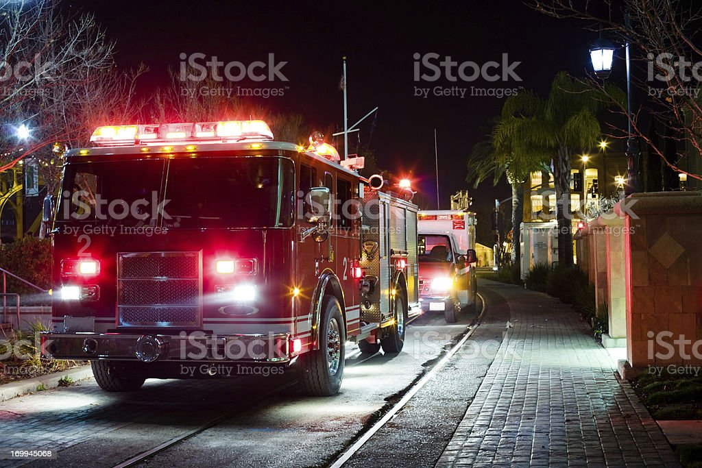Late Night Emergency In a City stock photo