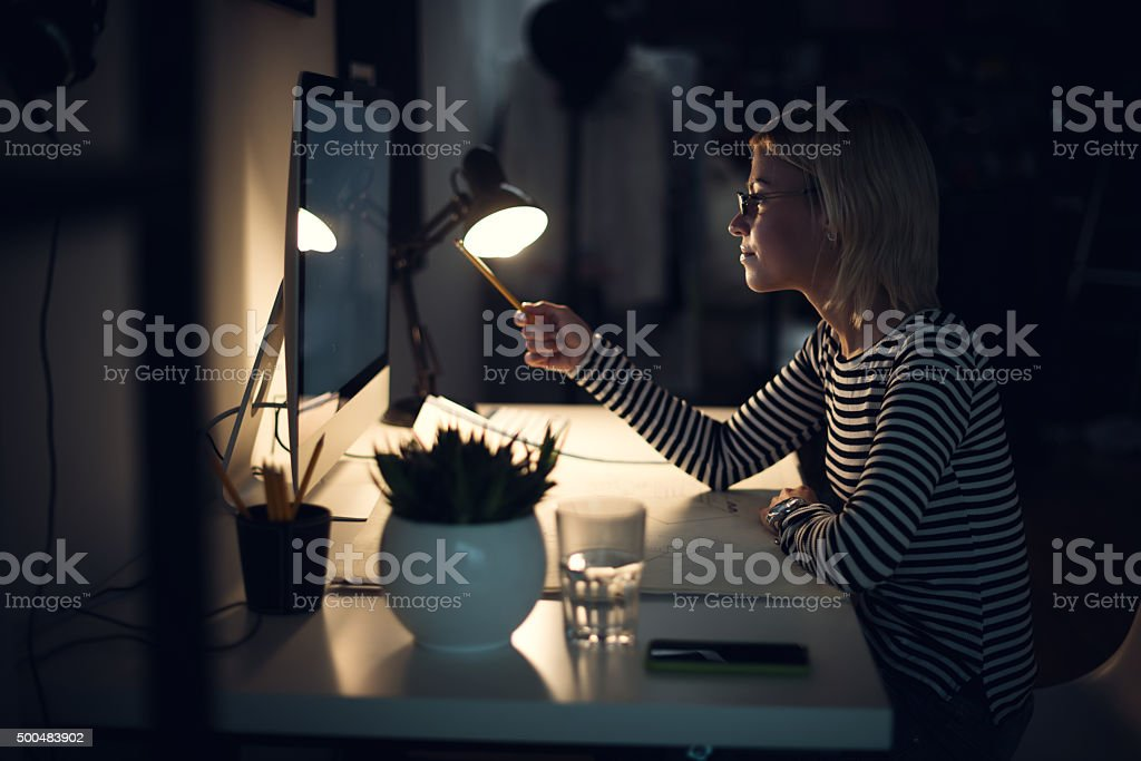 Late night in the office stock photo