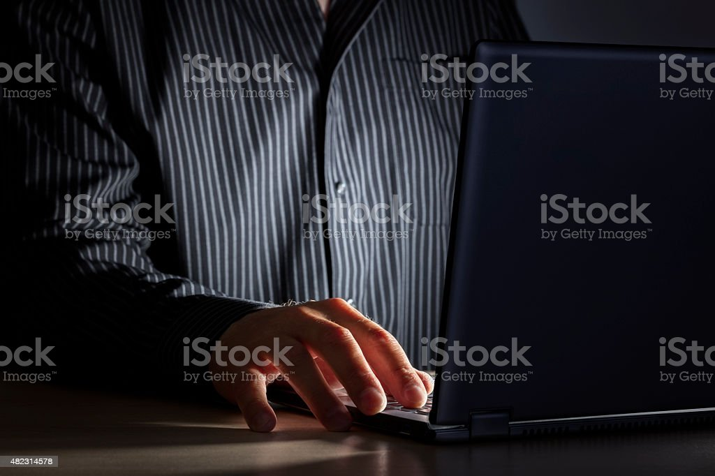 Late night internet addiction or working late stock photo