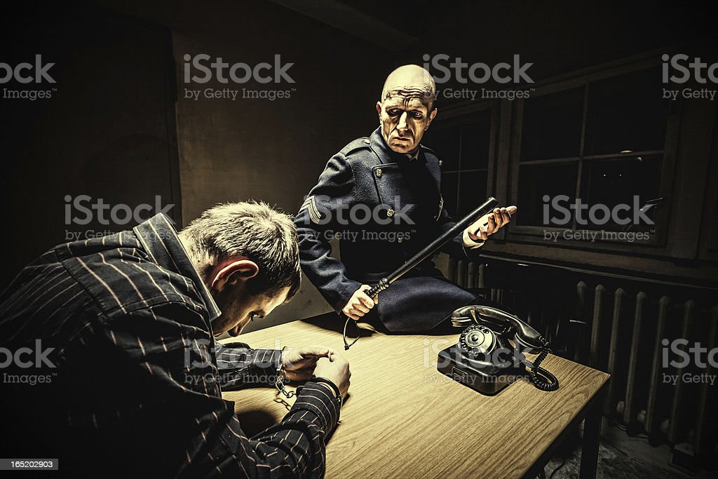 Late night interrogation stock photo