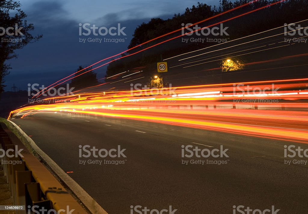 Late night traffic on a dual carriageway royalty-free stock photo