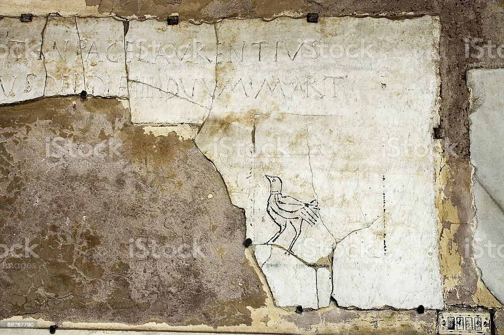 Late Roman Graffiti of a Bird royalty-free stock photo