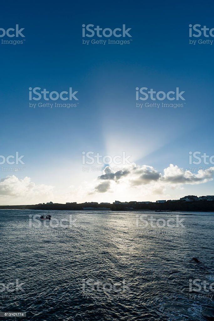 Late September Sunrise over Newquay, Cornwall stock photo