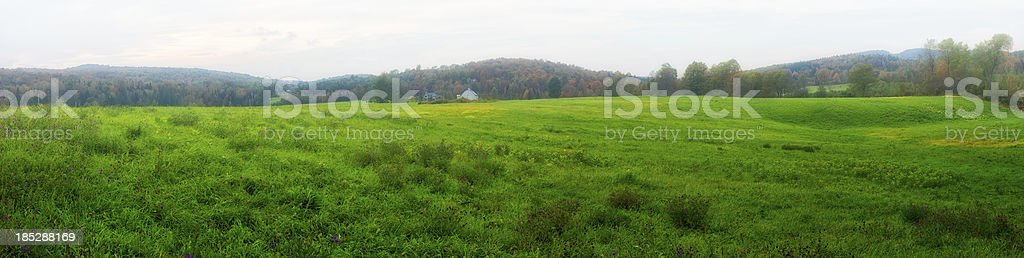 Late Summer Misty Field Panorama royalty-free stock photo