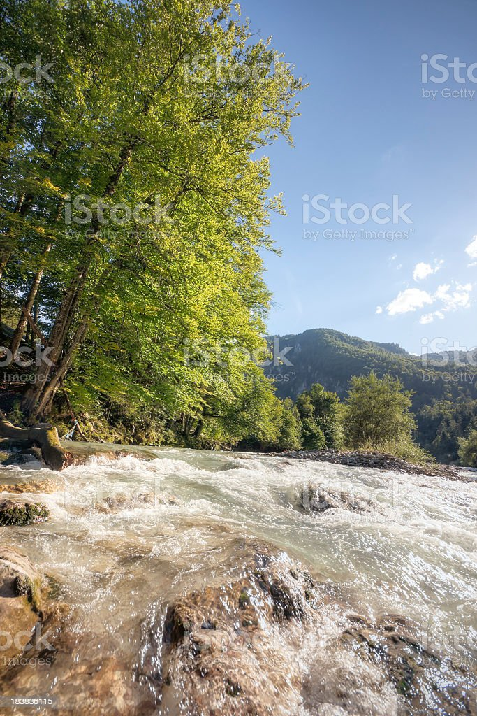 Late Summer River Scenic stock photo