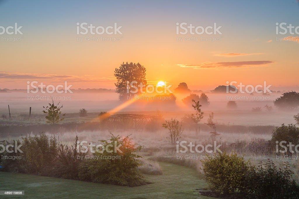 Late Summer Sunrise stock photo