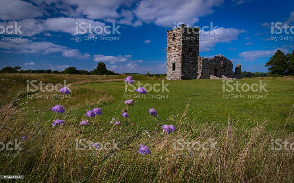 Late summer sunshine on the medieval Knowlton Church, Wimborne, Dorset stock photo