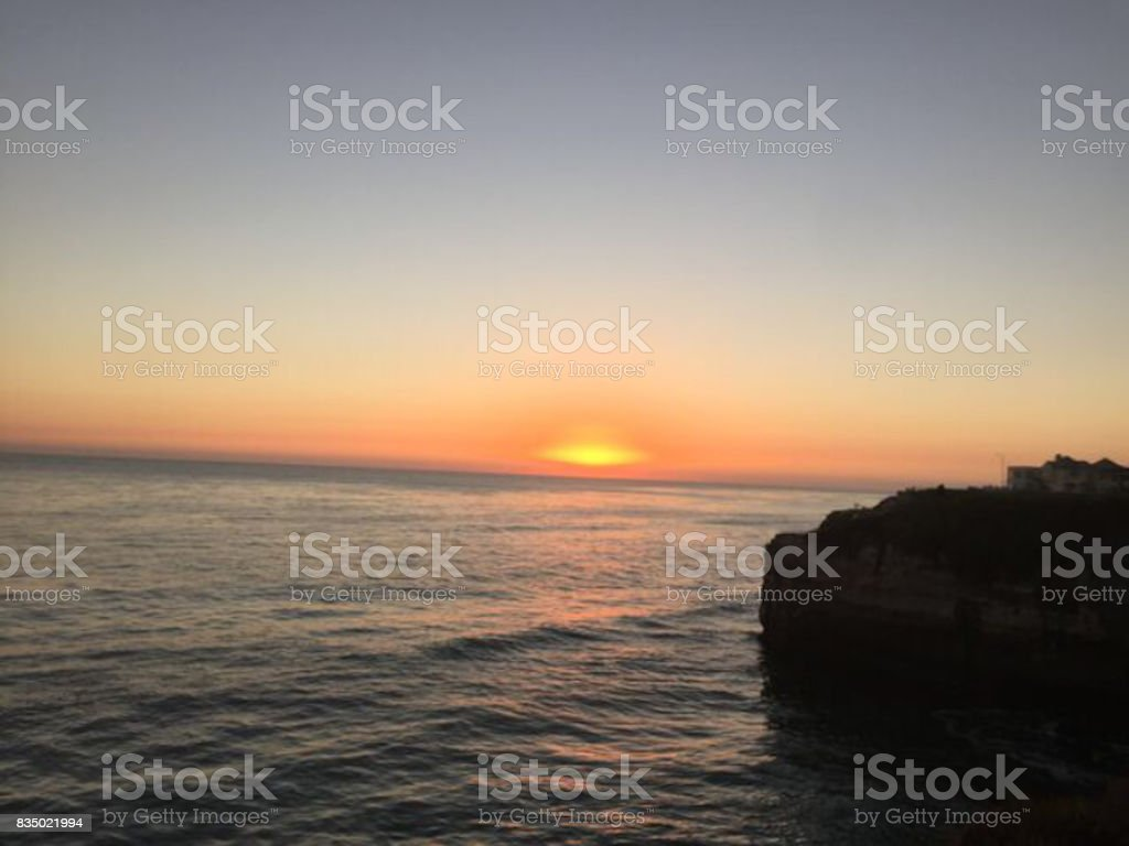 Late Sunset Beach stock photo