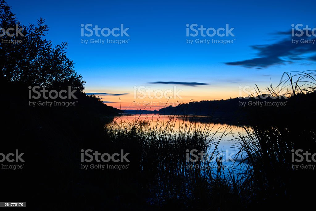Late Sunset on the Daugava River stock photo