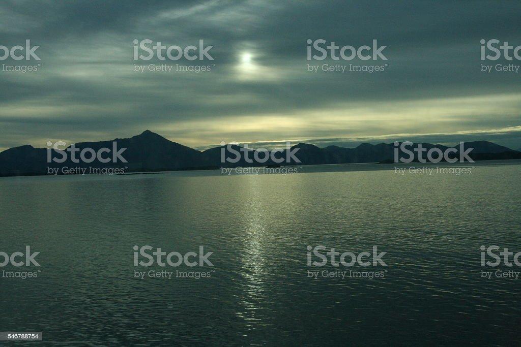 Late Sunset Over Alaskan Coast stock photo