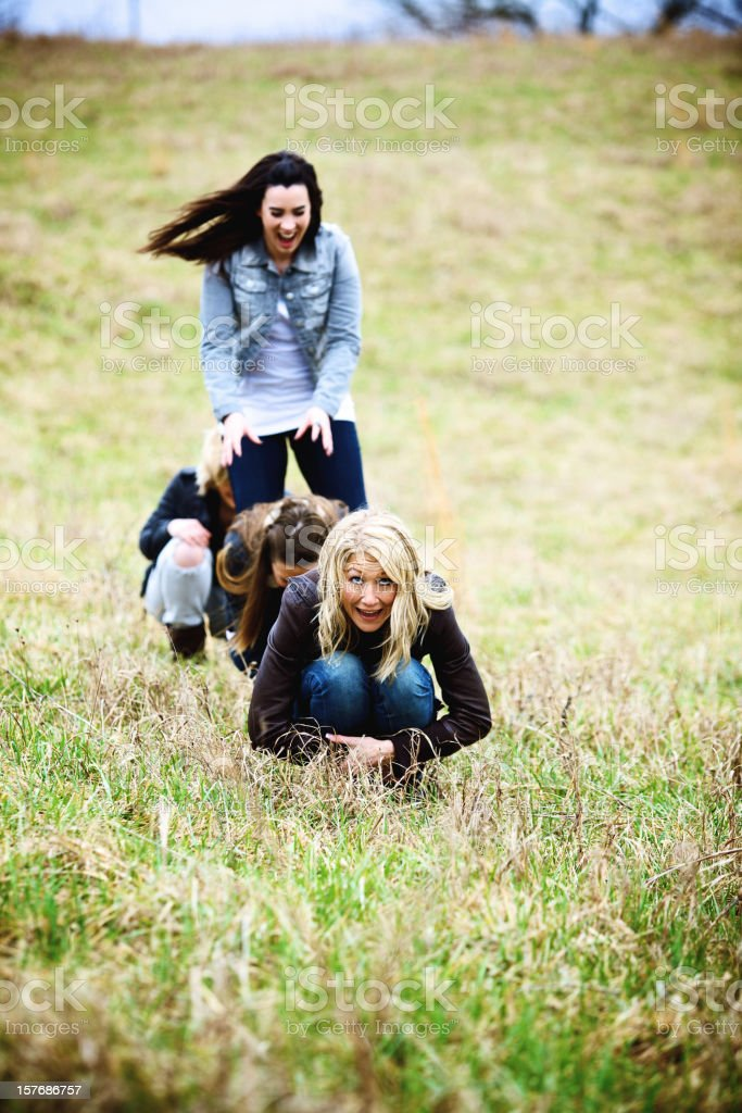 late winter active young rural females stock photo