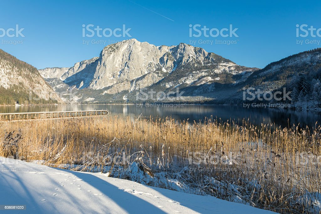 Late winter afternoon at Altaussee, Austria stock photo