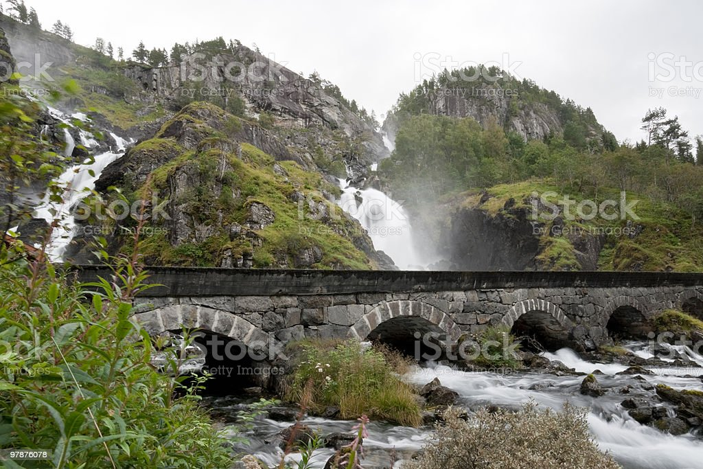Latefossen Twin-Waterfall stock photo