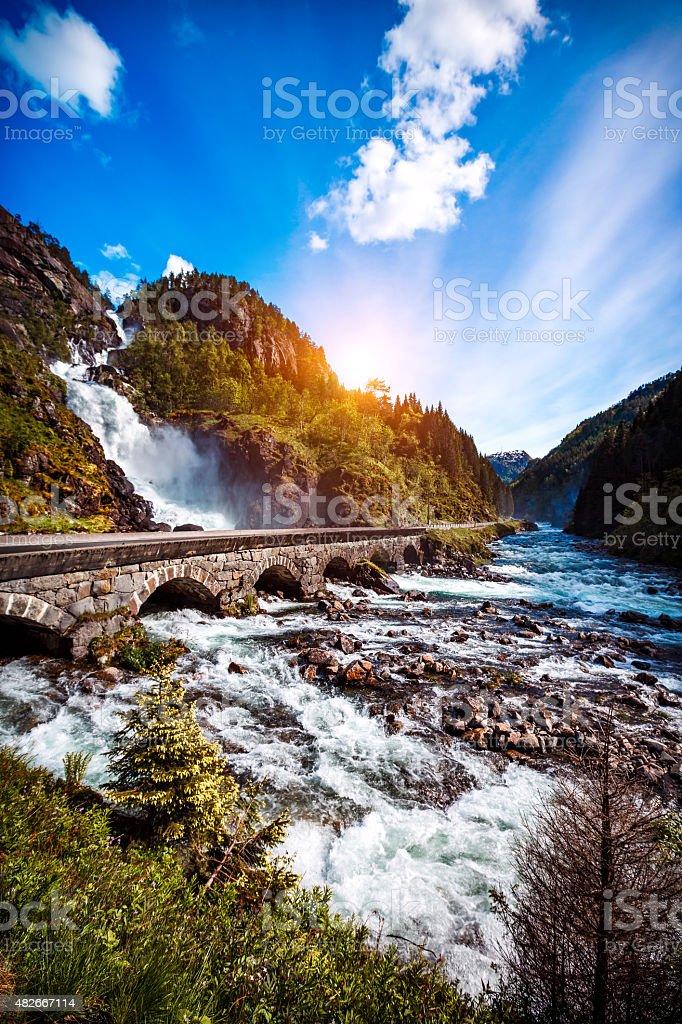 Latefossen waterfall Norway stock photo