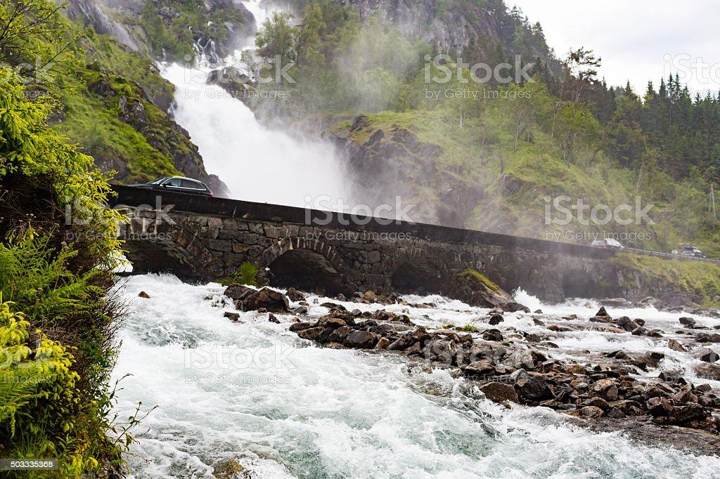 Latefossen waterfalls in Norway stock photo