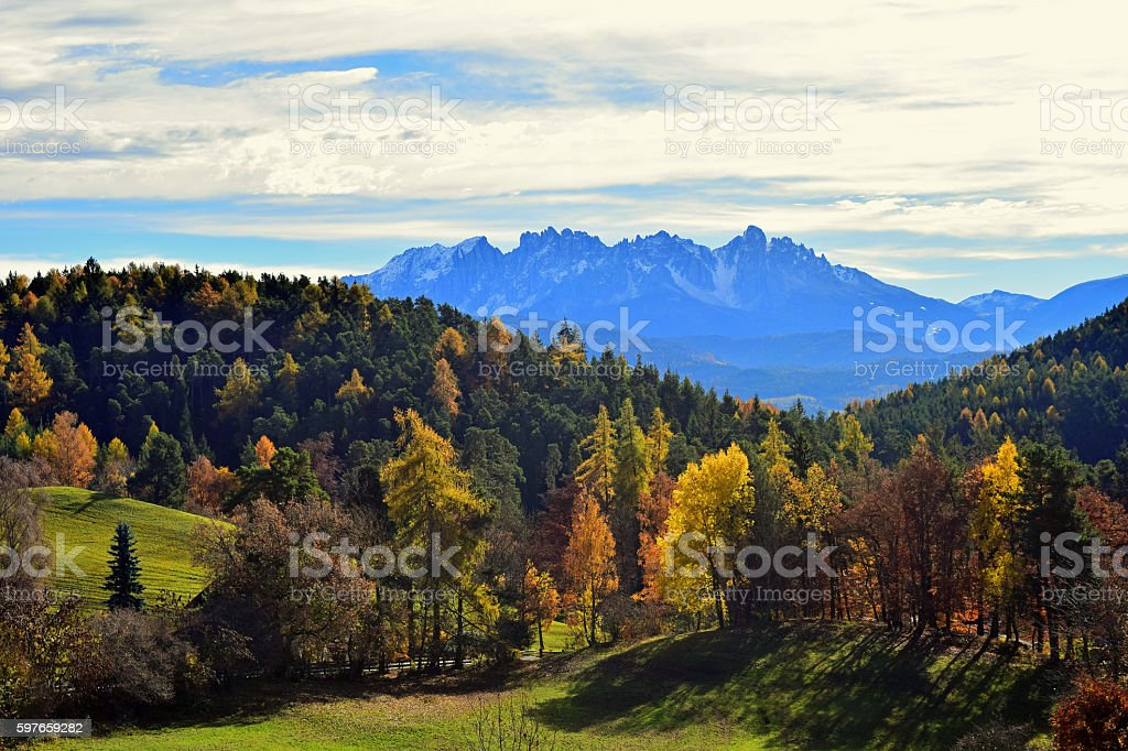 Latemar mountain in autumn stock photo