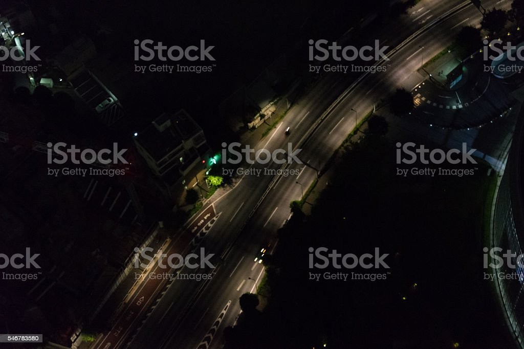 Late-night road (Aerial) photo libre de droits
