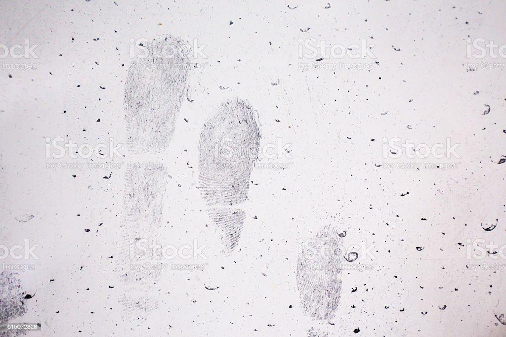 latent fingerprint on vehicle door in crime sccene investigation stock photo