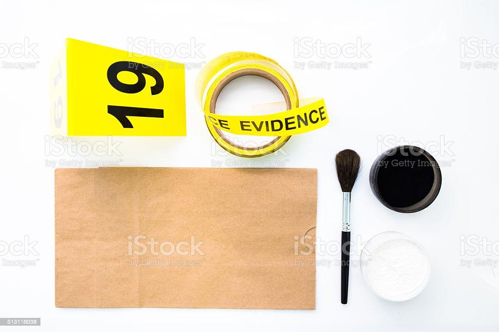 latent fingerprint search tool in crime scene stock photo