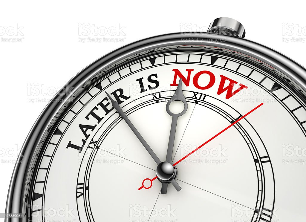 later is now conceptual clock stock photo
