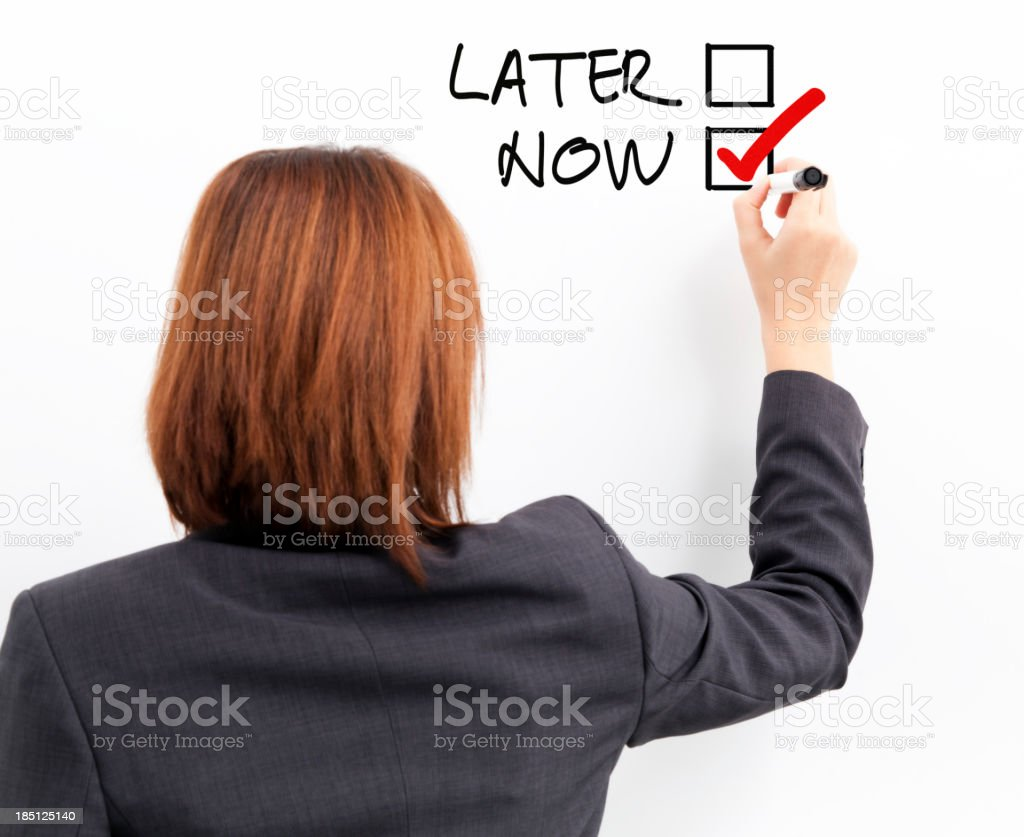 Later or Now stock photo