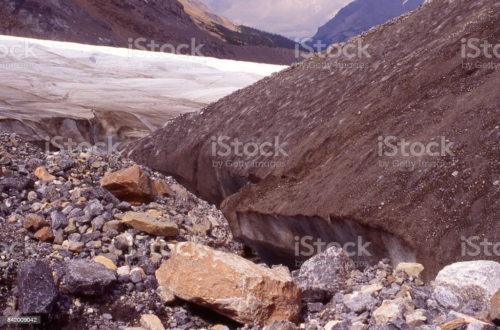 Lateral moraine and remnant erosional deposits on edge of Athabaska Glacier Jasper National Park British Columbia Canada stock photo