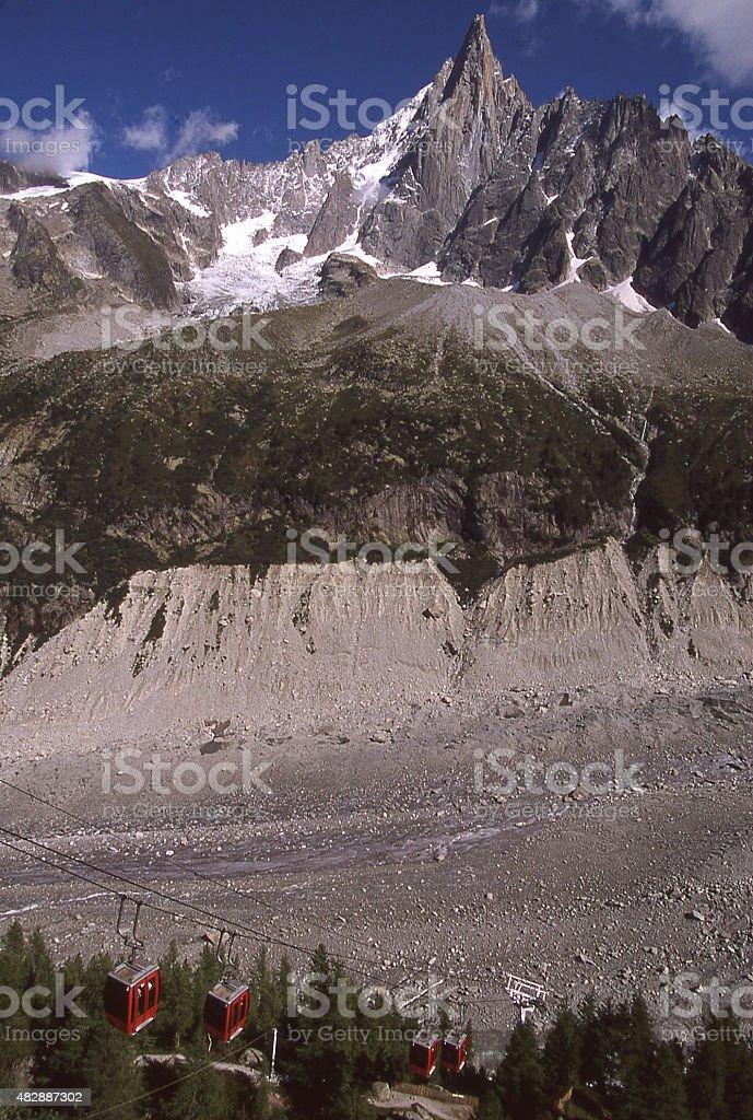 Lateral Moraine Mer de Glace Chamonix Mont Blanc  France stock photo
