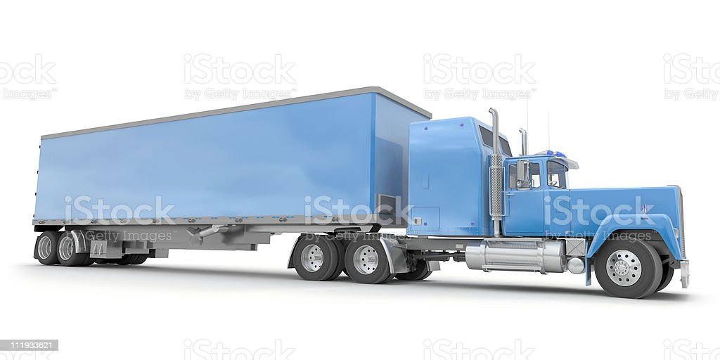 Lateral view of a big blue trailer truck royalty-free stock photo