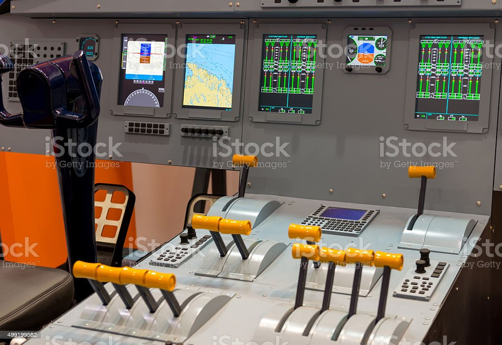 Lateral view of cockpit in flight simulator stock photo