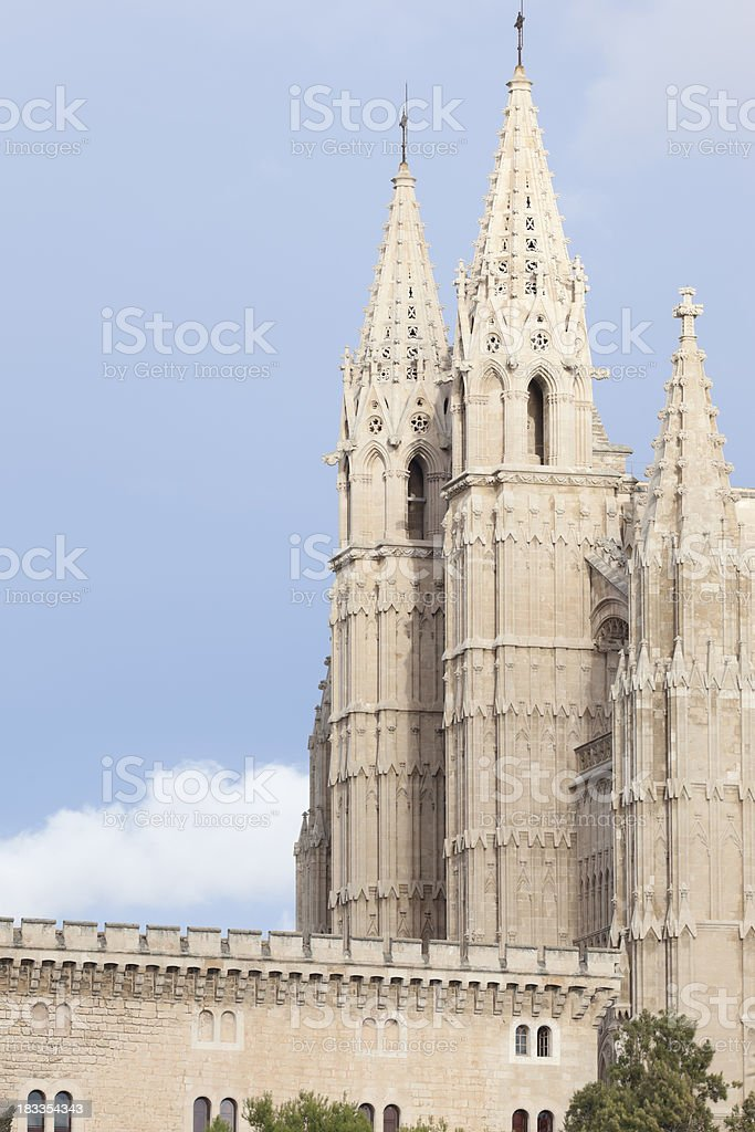 Laterally view of the cathedral Palma de Majorca stock photo