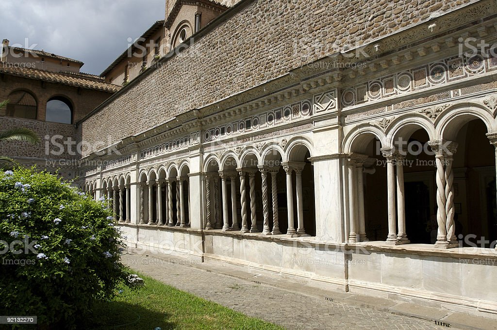 Lateran cloister with beautiful arches and details royalty-free stock photo