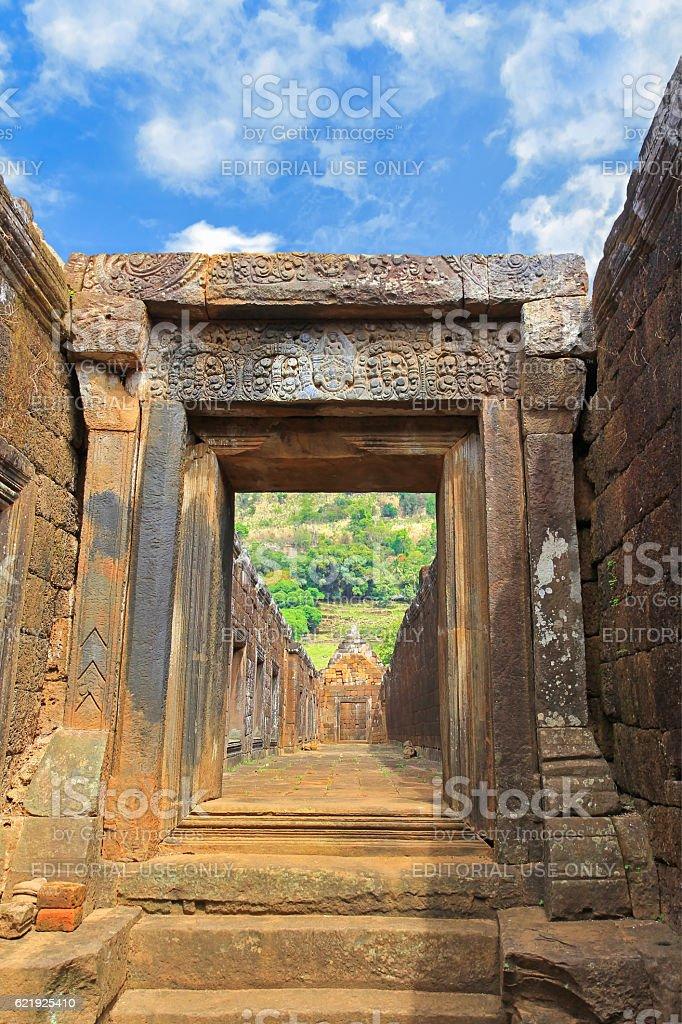 Laterite courtyards, walls of Northern palace at Vat Phou, Laos stock photo