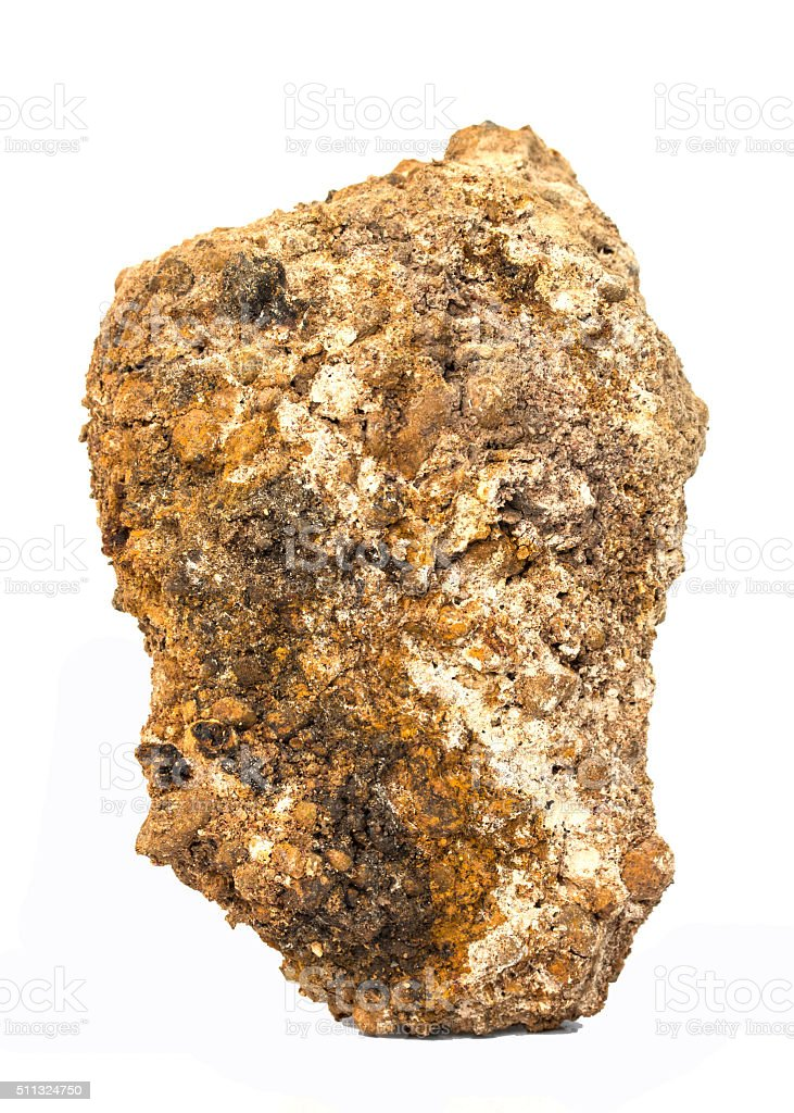 Laterite on a white background. (aluminum ore) stock photo