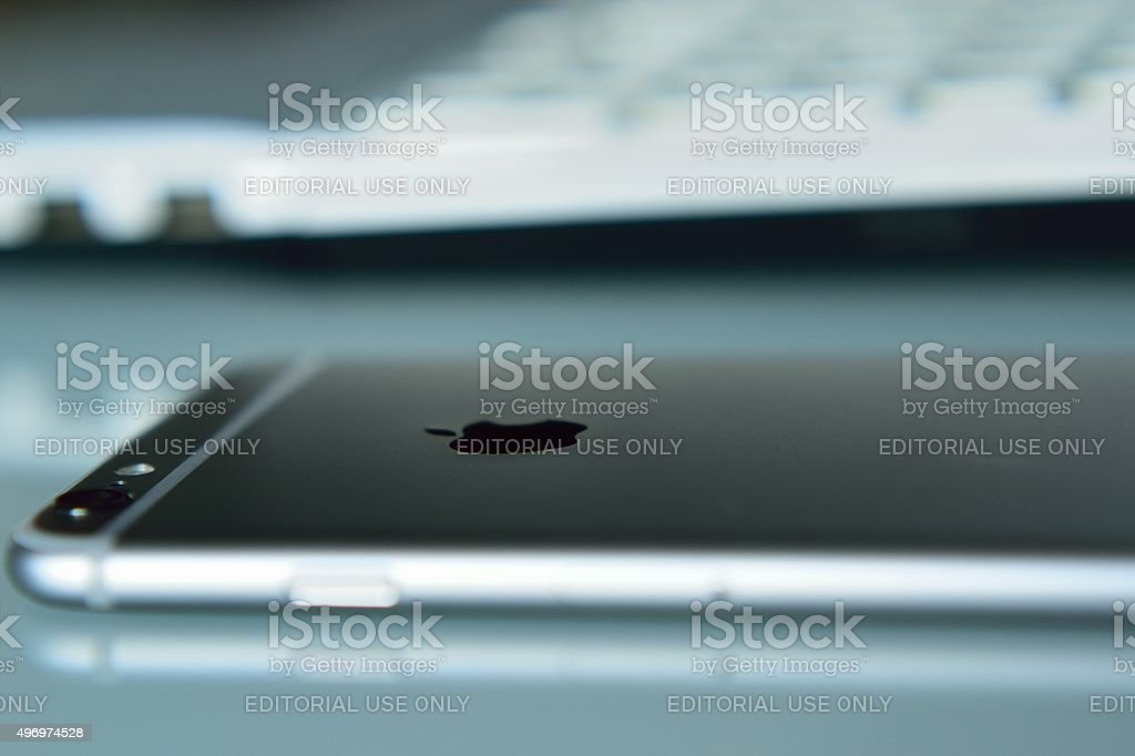 Latest iPhone 6S on desk stock photo