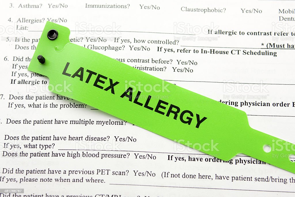 Latex Allergy And Paperwork stock photo