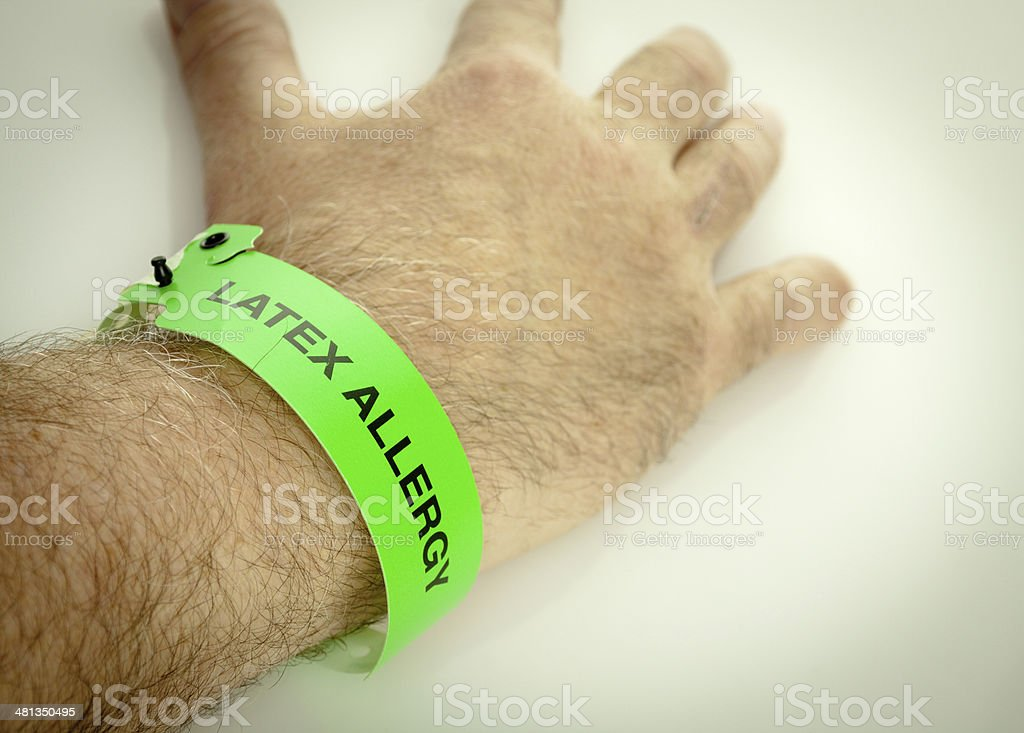 Latex Allergy Wrist Bracelet stock photo