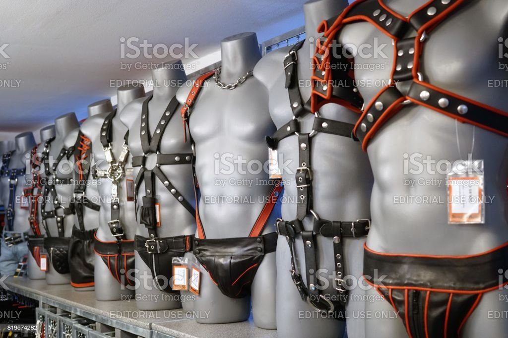 Latex clothes, accessories and masks in a gay products store. Berlin...