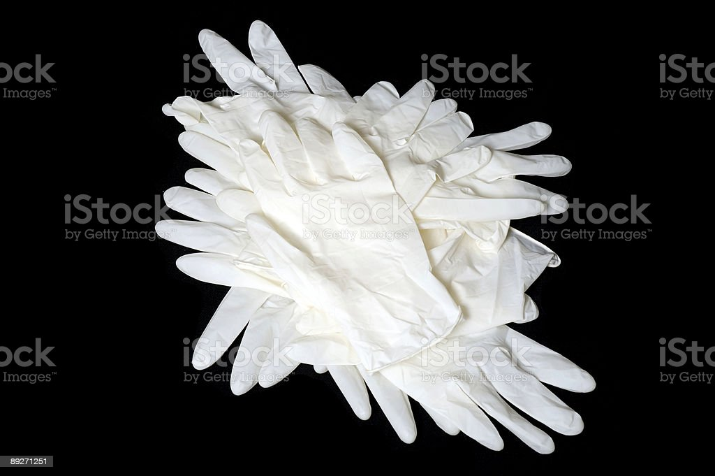 Latex gloves isolated on black royalty-free stock photo